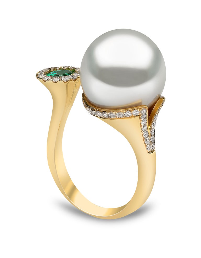 Round Cut Yoko London South Sea Pearl, Emerald and Diamond Ring in 18 Karat Yellow Gold For Sale