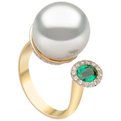 Yoko London South Sea Pearl, Emerald and Diamond Ring in 18 Karat Yellow Gold