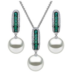 Yoko London South Sea Pearl, Emerald & Diamond Pendant & Earring set in 18K Gold