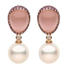 Yoko London South Sea Pearl, Quartz, Sapphire & Diamond Earrings in 18K Gold