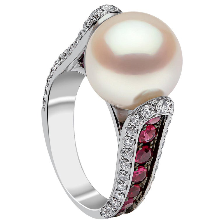 Yoko London South Sea Pearl, Ruby and Diamond Ring in 18 Karat White Gold For Sale