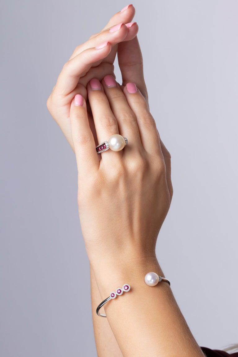 This exquisite ring by Yoko London features a lustrous 12.8mm South Sea pearl surrounded by vibrant rubies and scintillating diamonds. This elegant ring has been hand-finished in our London workshop to the highest standard. Pair with the matching