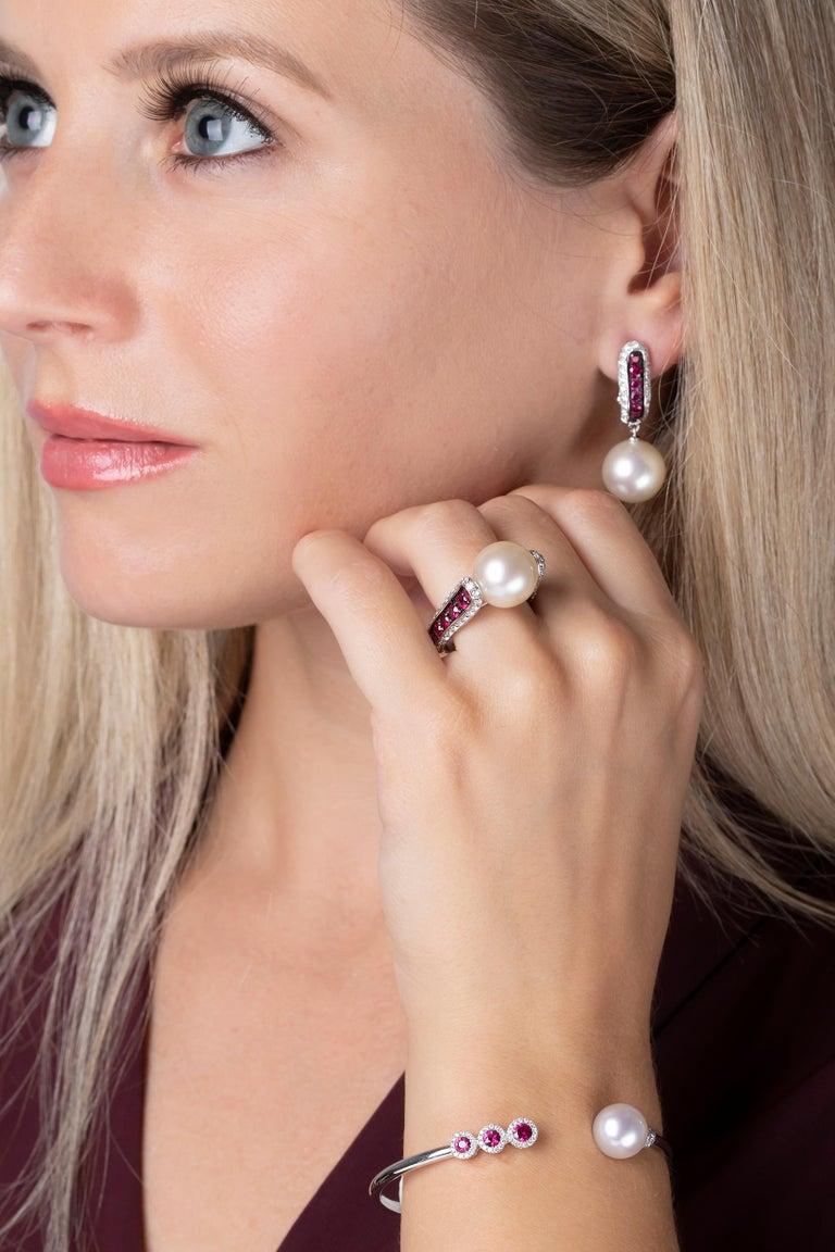 Modern Yoko London South Sea Pearl, Ruby and Diamond Ring in 18 Karat White Gold For Sale