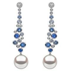 Yoko London South Sea Pearl Sapphire and Diamond Drop Earrings in 18 Karat Gold