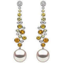 Yoko London South Sea Pearl, Sapphire and Diamond Earrings in 18 Karat Gold