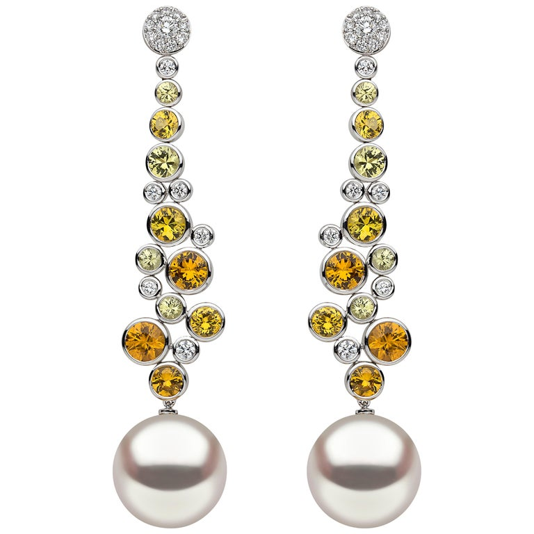 Yoko London South Sea Pearl, Sapphire and Diamond Earrings in 18 Karat Gold For Sale