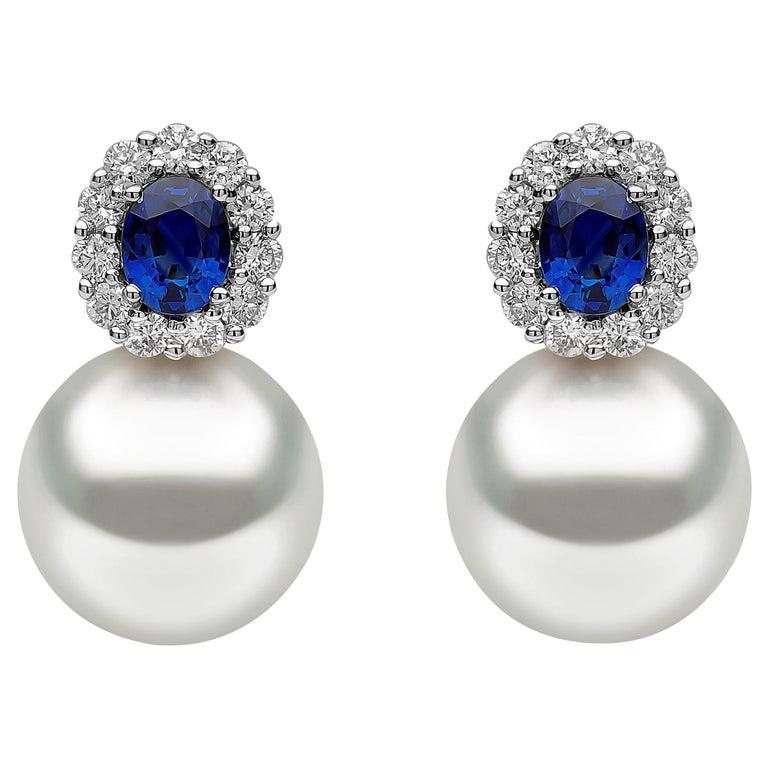 Yoko London South Sea Pearl, Sapphire and Diamond Earrings in 18 Karat Gold For Sale