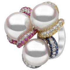 Yoko London South Sea Pearl, Sapphire and Diamond Ring in 18 Karat White Gold