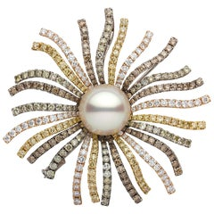 Yoko London South Sea Pearl White Yellow and Black Diamond Brooch in 18K Gold