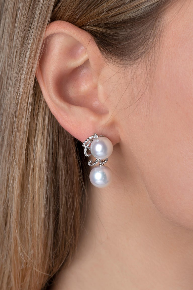 Contemporary Yoko London South Sea Pearls and Diamond Earrings in 18 Karat White Gold For Sale