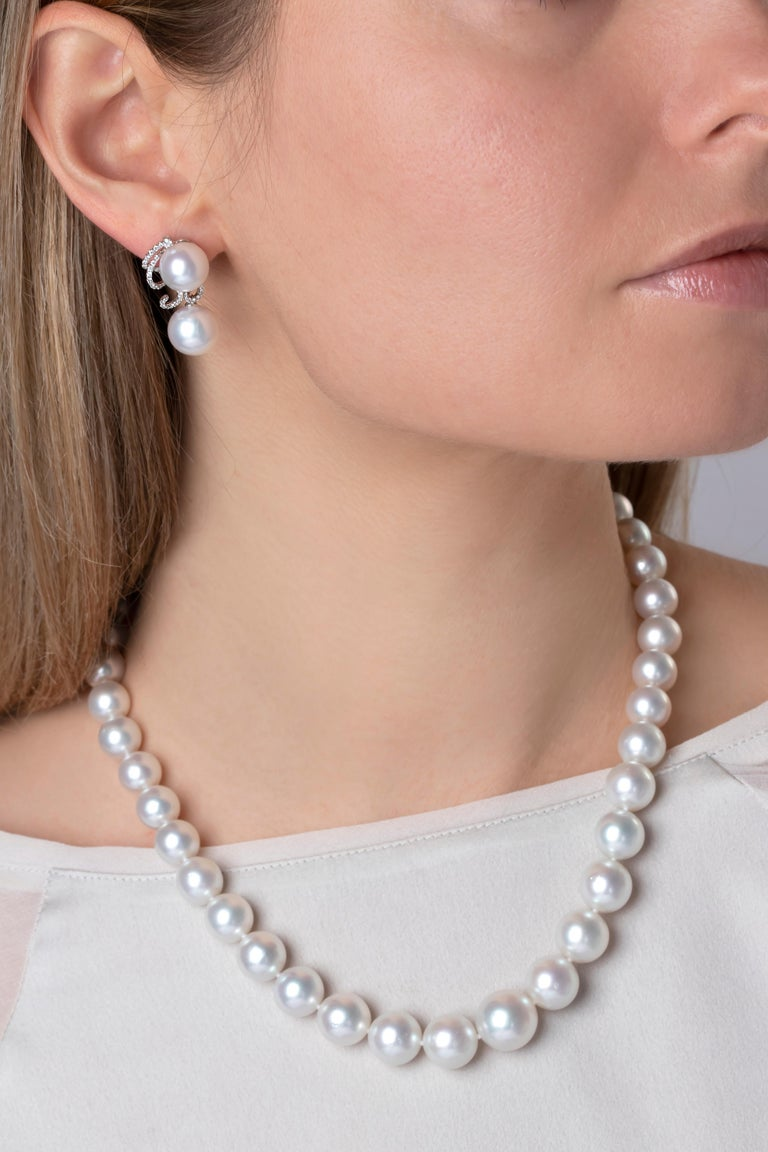 Yoko London South Sea Pearls and Diamond Earrings in 18 Karat White Gold In New Condition For Sale In London, GB