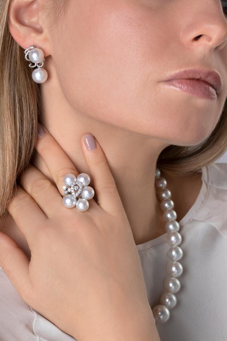 Contemporary Yoko London South Sea Pearls and Diamond Ring in 18 Karat White Gold For Sale