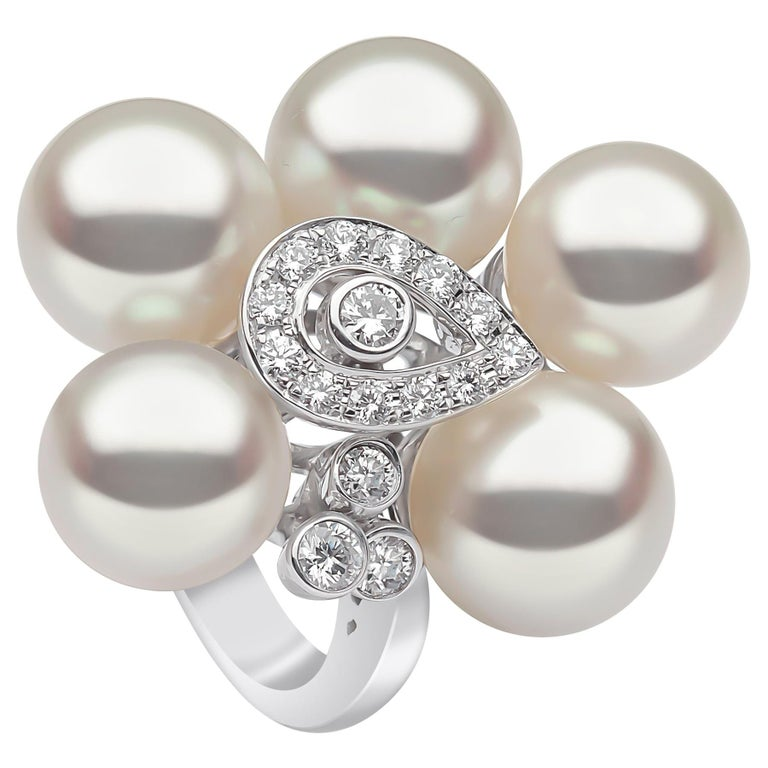 Yoko London South Sea Pearls and Diamond Ring in 18 Karat White Gold For Sale