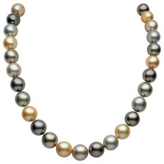Yoko London Tahitian and Golden South Sea Multi-Color Pearl Necklace 18k Gold
