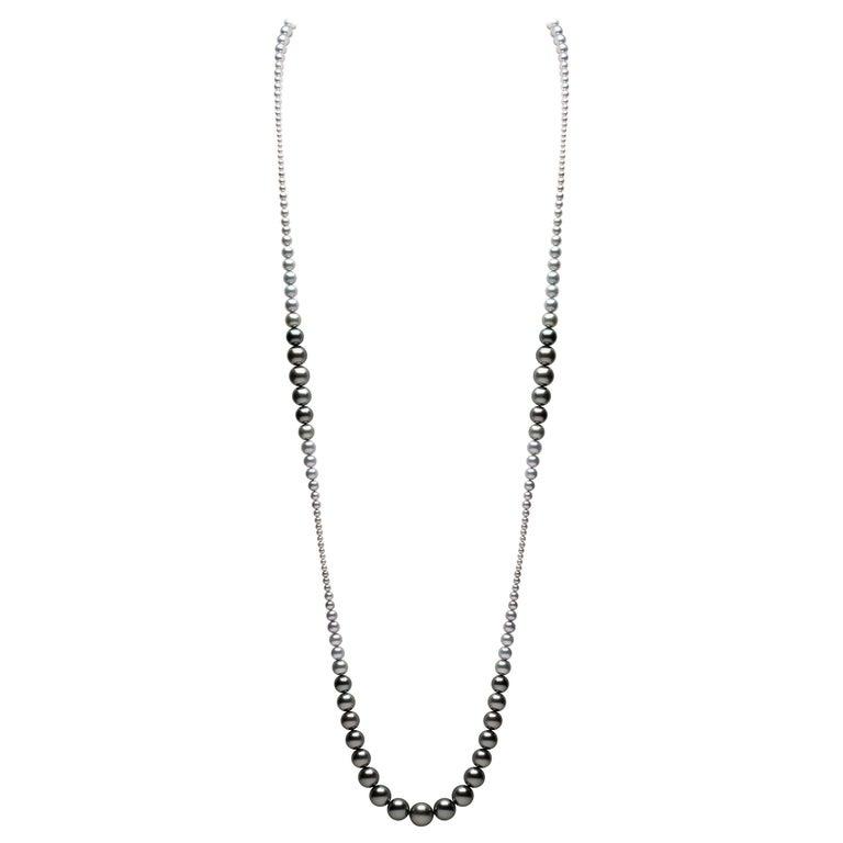 Yoko London Tahitian Pearl and Akoya Pearl Necklace in 18 Karat White Gold For Sale