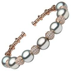 Yoko London Tahitian Pearl and Diamond Bangle in 18 Karat Rose Gold