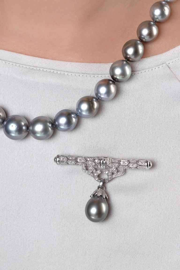 Modern Yoko London Tahitian Pearl and Diamond Brooch, Set in 18 Karat White Gold For Sale
