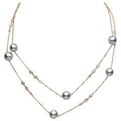 Yoko London Tahitian Pearl and Diamond Chain Necklace in 18 Karat Rose Gold