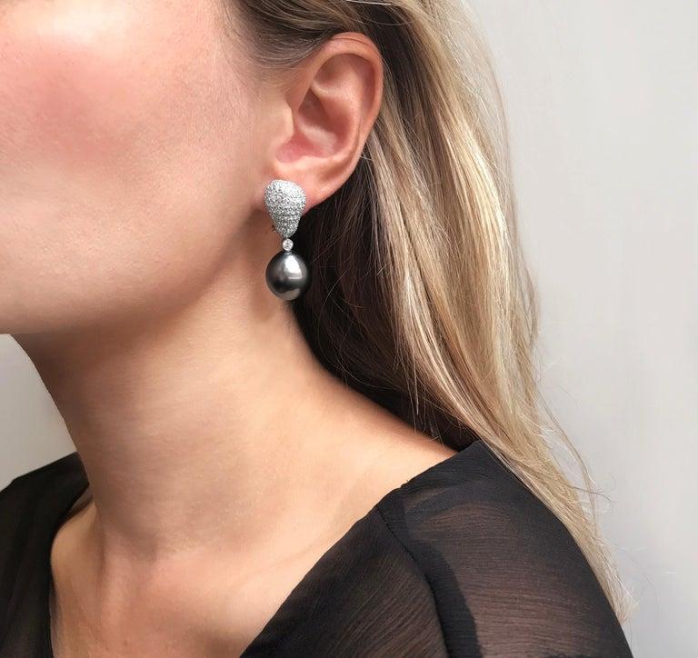 Yoko London Tahitian Pearl and Diamond Drop Earrings Set in 18 Karat White Gold 3