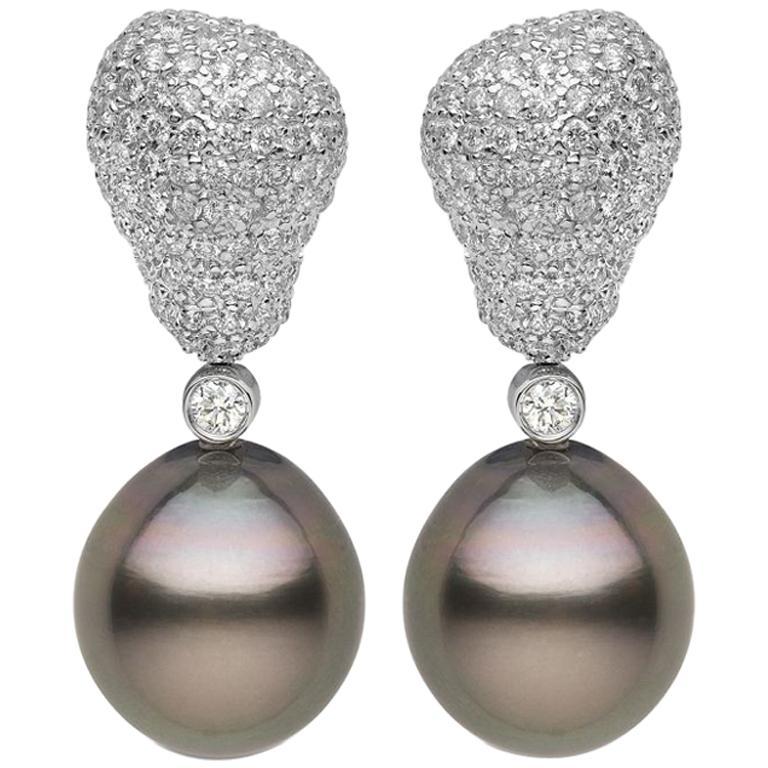 Yoko London Tahitian Pearl and Diamond Drop Earrings Set in 18 Karat White Gold 1