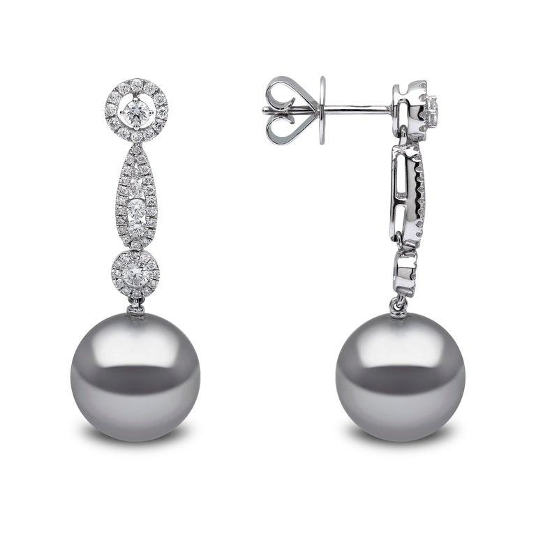 Contemporary Yoko London Tahitian Pearl and Diamond Earrings in 18 Karat White Gold For Sale