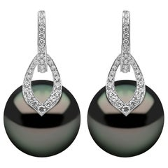Yoko London Tahitian Pearl and Diamond Earrings in 18 Karat White Gold