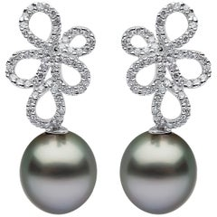 Yoko London Tahitian Pearl and Diamond Earrings in 18 Karat White Gold
