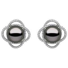 Yoko London Tahitian Pearl and Diamond Earrings, in 18 Karat White Gold