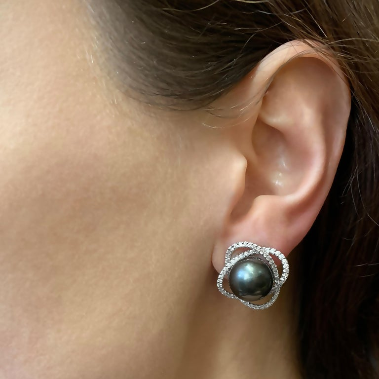 Modern Yoko London Tahitian Pearl and Diamond Earrings, in 18 Karat White Gold For Sale