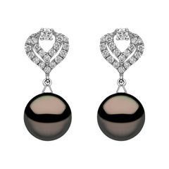 Yoko London Tahitian Pearl and Diamond Earrings in 18k White Gold
