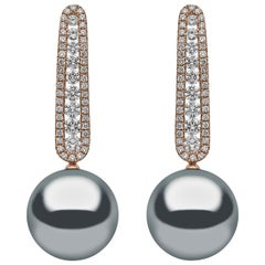 Yoko London Tahitian Pearl and Diamond Earrings Set in 18 Karat Rose Gold