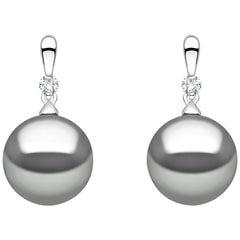 Yoko London Tahitian Pearl and Diamond Earrings set in 18 Karat White Gold