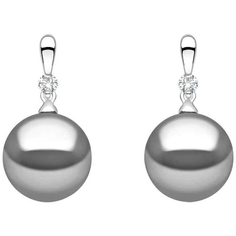 Yoko London Tahitian Pearl and Diamond Earrings set in 18 Karat White Gold For Sale