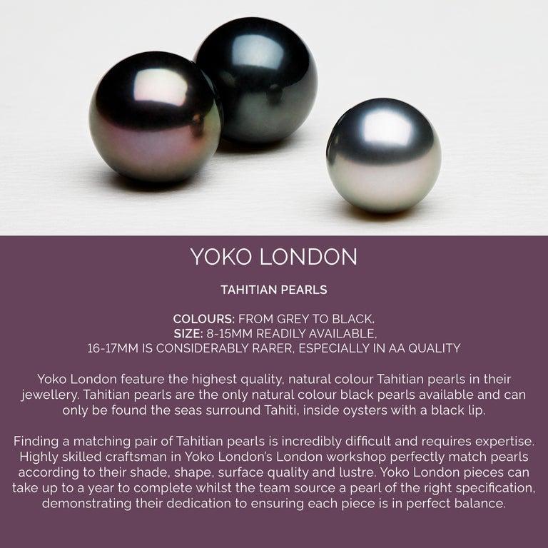 Round Cut Yoko London Tahitian Pearl and Diamond Earrings set in 18 Karat White Gold For Sale
