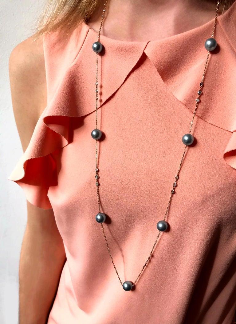 Modern Yoko London Tahitian Pearl and Diamond Necklace Set in 18 Karat Rose Gold For Sale