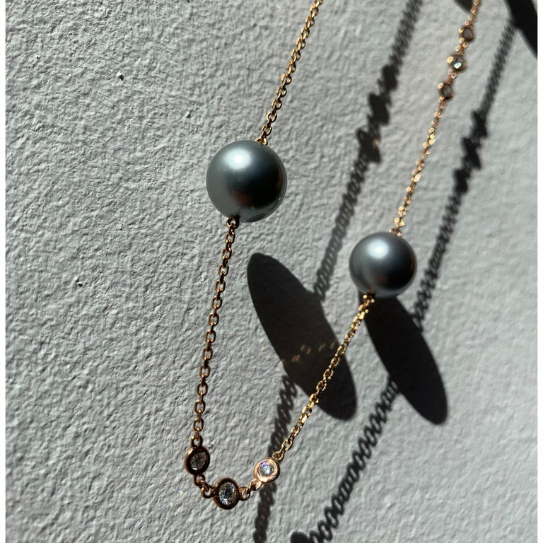 Yoko London Tahitian Pearl and Diamond Necklace Set in 18 Karat Rose Gold In New Condition For Sale In London, GB