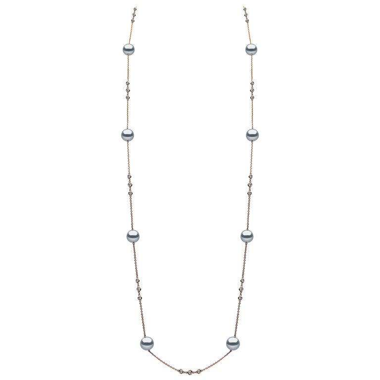Yoko London Tahitian Pearl and Diamond Necklace Set in 18 Karat Rose Gold For Sale