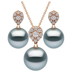 Yoko London Tahitian Pearl and Diamond Pendant and Earring Set, in 18 Karat Gold