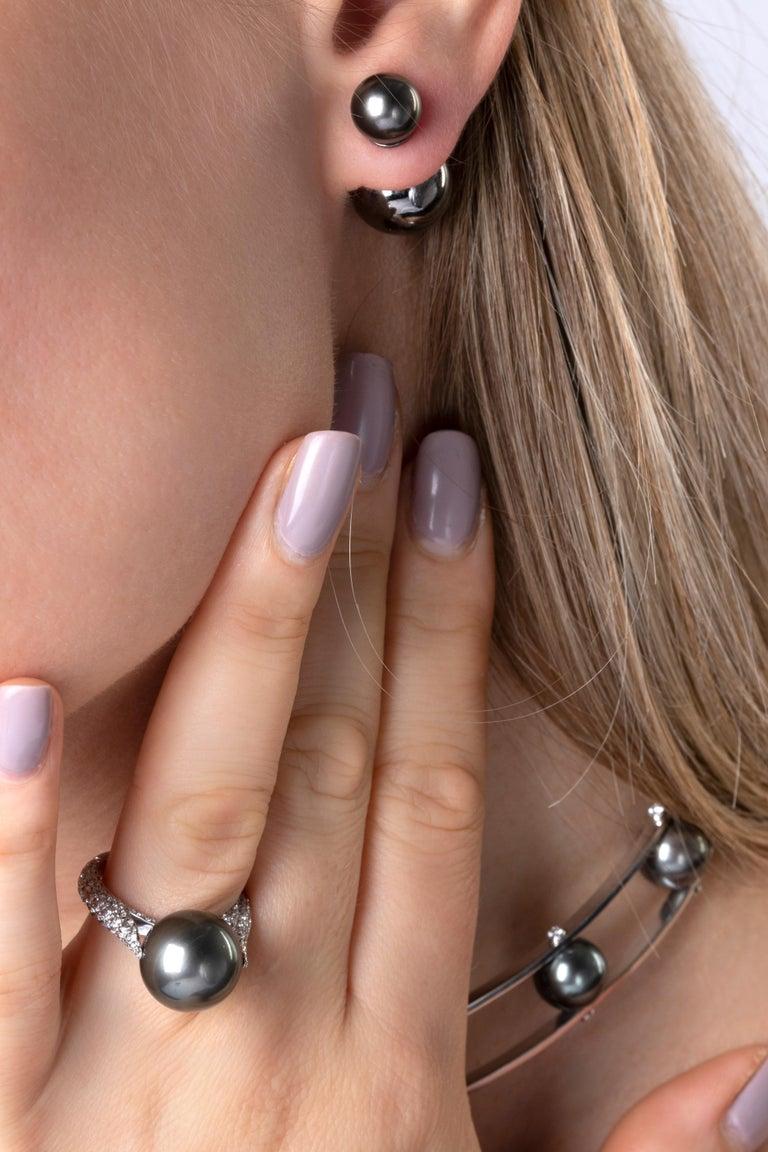 Round Cut Yoko London Tahitian Pearl and Diamond Ring in 18 Karat White Gold For Sale