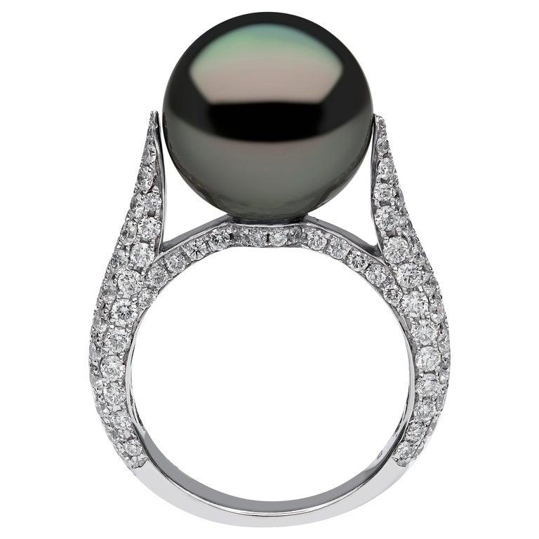 Yoko London Tahitian Pearl and Diamond Ring in 18 Karat White Gold For Sale