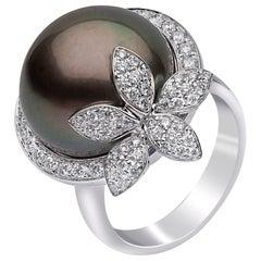 Yoko London Tahitian Pearl and Diamond Ring in 18 Karat White Gold
