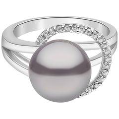 Yoko London Tahitian Pearl and Diamond Ring Set in 18 Karat White Gold