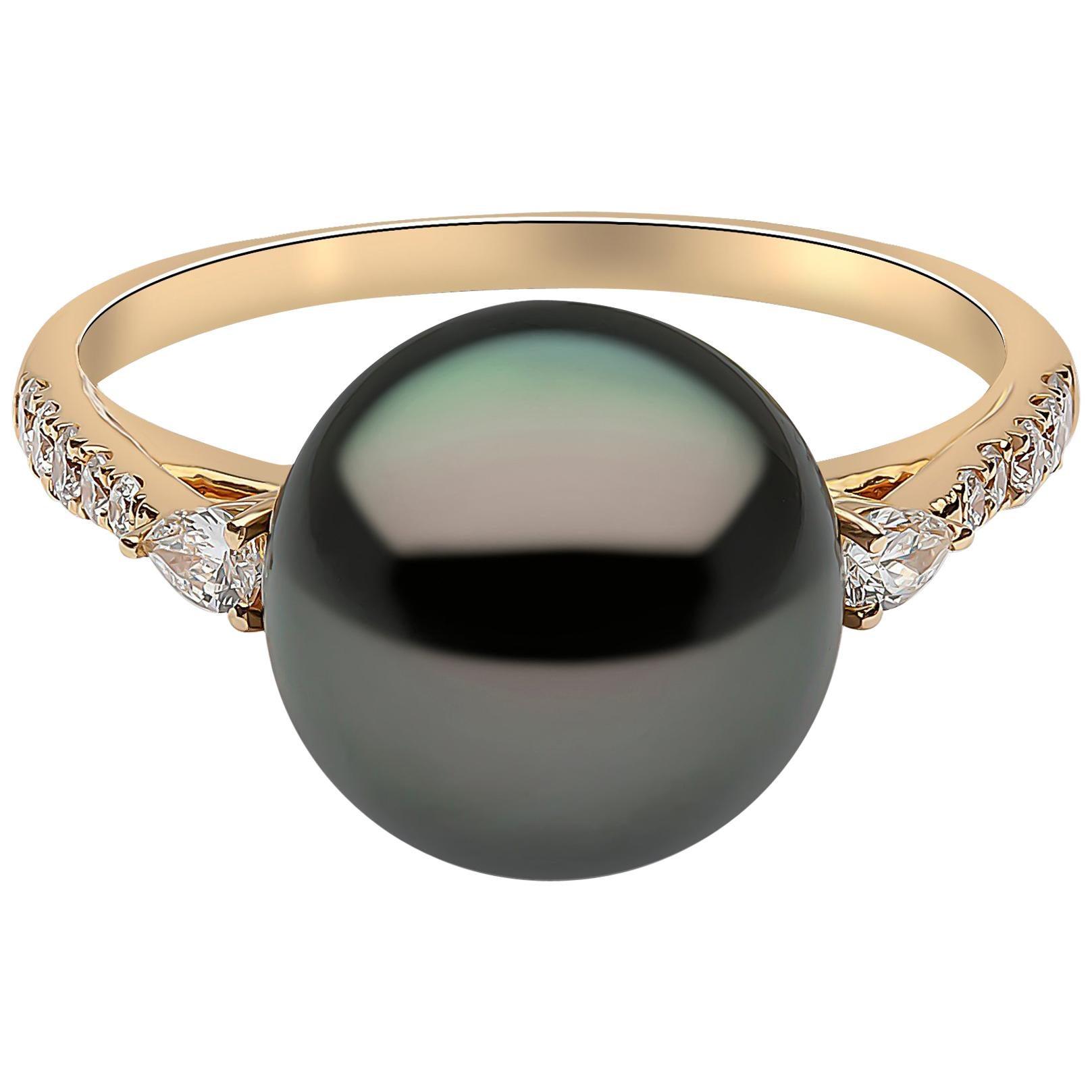 perle Tahiti Und Diamanten Gelbgold Modern Ring Pearl