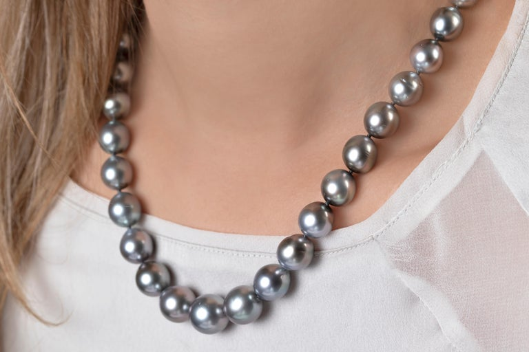 Contemporary Yoko London Tahitian Pearl Classic Necklace in 18K White Gold For Sale