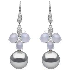 Yoko London Tahitian Pearl, Diamond and Chalcedony Earrings in 18 Karat Gold
