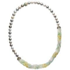 Yoko London Tahitian Pearl Multi-Stone Necklace in 18 Karat Black Gold