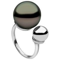 Yoko London Tahitian Pearl Ring in 18k White Gold