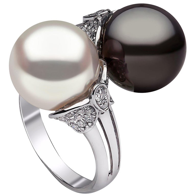 Yoko London Tahitian, South Sea Pearl and Diamond Ring in 18 Karat White Gold For Sale