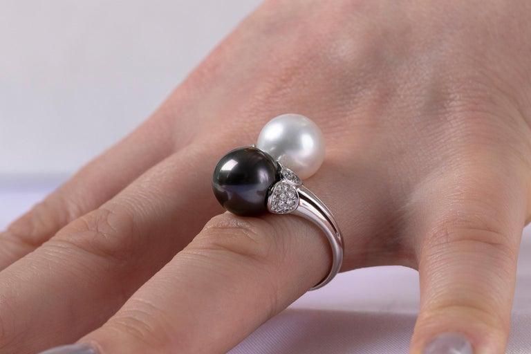 Round Cut Yoko London Tahitian, South Sea Pearl and Diamond Ring in 18 Karat White Gold For Sale