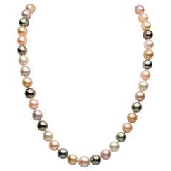 Yoko London Tahitian, South Sea & Pink Freshwater Pearl Necklace 18K Yellow Gold